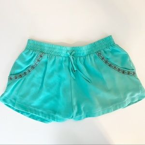 Moonlight Pastel Green Embroidered Shorts Small